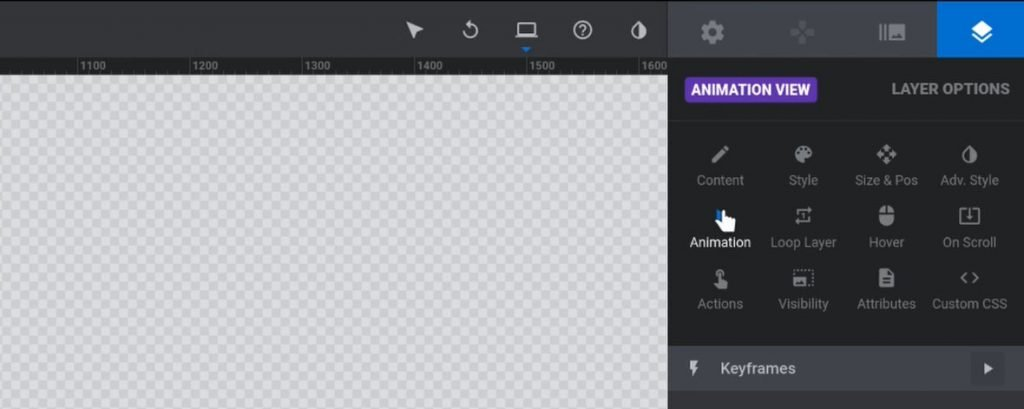 """Open """"Animation"""" settings for the vertical menu group"""