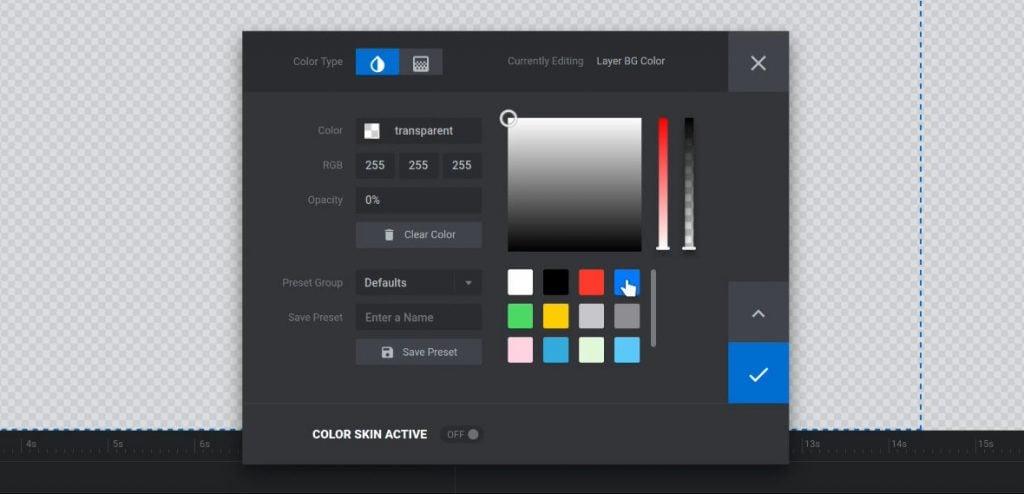 Choose the blue preset color